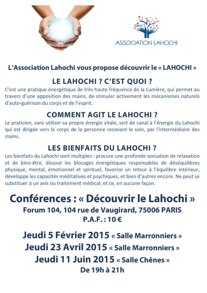 Affiche Association LAHOCHI - Forum 104 - Conférences 1er sem 2015